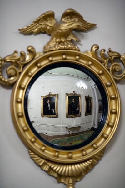 Mirror on the wall of the Portrait Gallery, Dublin Castle, Dublin, Ireland