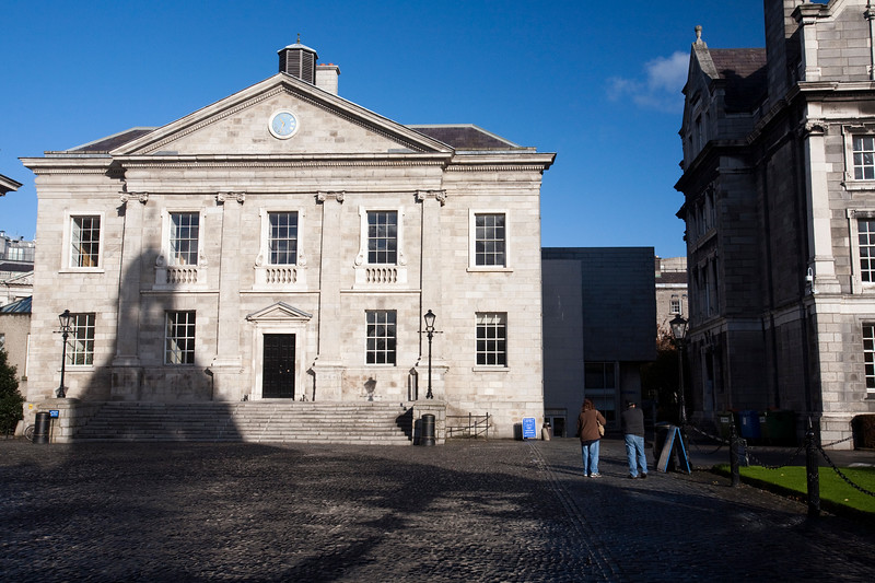 The shadow of the Campanile on the Dining Hall facade, Parliament Square, Trinity College, Dublin, Ireland