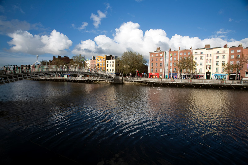 Ha' Penny (Half Penny) Bridge and Liffey River, Dublin, Ireland