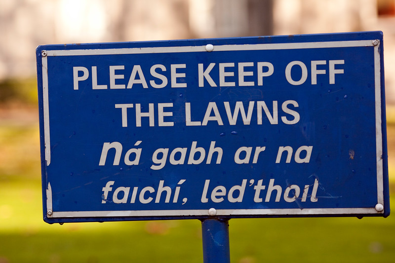 English and Gaelic sign, Trinity College, Dublin, Ireland