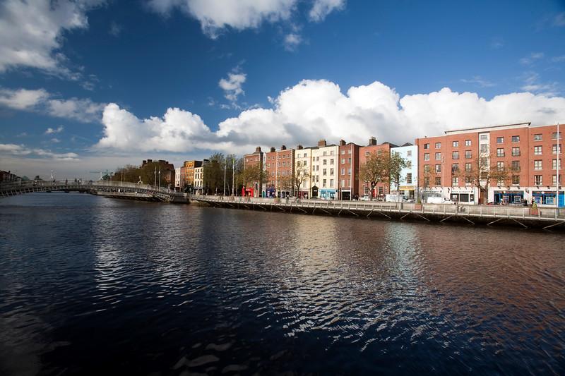 Swift's Row and Liffey River from Wellington Quay with Ha' Penny Bridge on the left, Dublin, Ireland