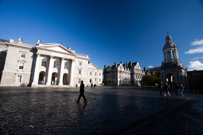 Parliament Square, with the Chapel (left) and the Campanile (right), Trinity College, Dublin, Ireland