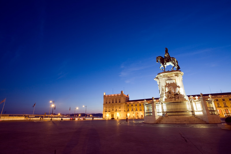 View of Praça do Comerico at dusk, Lisbon