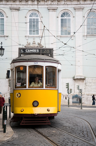 Tram in Luis de Camoes square, Lisbon