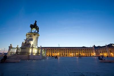 View of Praça do Comerico at dusk, Lisbon