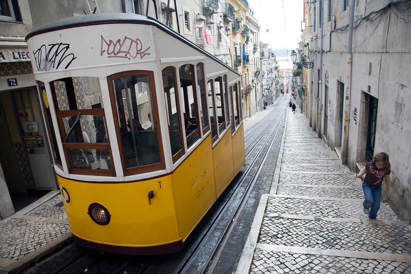 Elevador da bica, a funicular railway connecting the docks and the Bairro Alto, Lisbon.