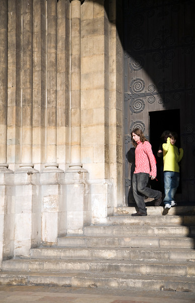 People leaving Lisbon cathedral