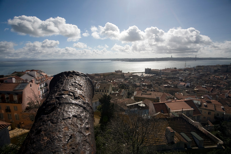 View of Lisbon and the Tagus river from Saint George castle