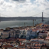 View of Lisbon, with the 25 Avril bridge on the background, from Saint George Castle.