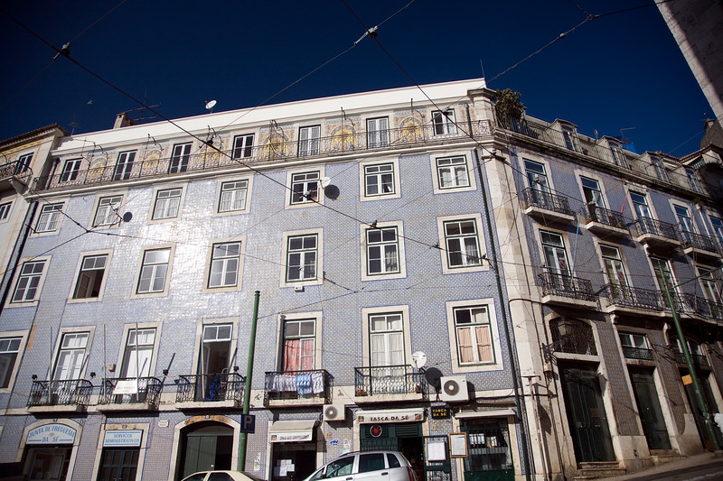 Typical Lisbon facade with glazed ceramic tiles.