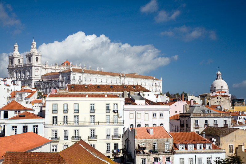 View of Lisbon from Santa Luzia viewpoint, with the twin towers of Sao Miguel and the dome of Santa Engracia churches.