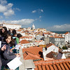 Portuguese students looking at Lisbon from Santa Luzia viewpoint.