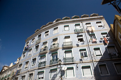 Typical house with a facade of glazed ceramic tiles, Alfama, Lisbon, Portugal