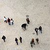 Aerial view of people walking on Restauradores square, Lisbon