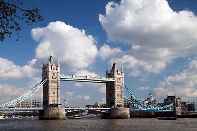 Tower Bridge from the Thames river north bank, London, England, United Kingdom