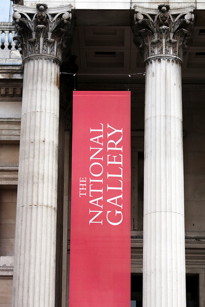 National Gallery columns and banner, London, England, United Kingdom