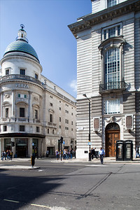 Plaza Cinema (left) and Barclays Bank building (right) on Regent Street, Westminster, London, England, United Kingdom