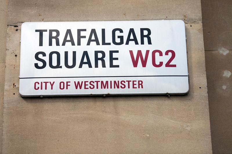 Trafalgar Square sign, London, England, United Kingdom