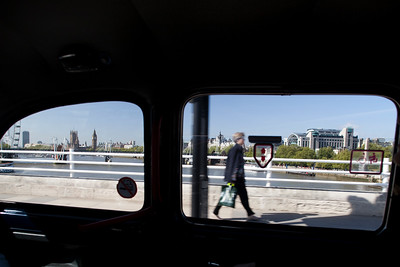 Westward view from a taxi crossing Waterloo bridge, London, England, United Kingdom