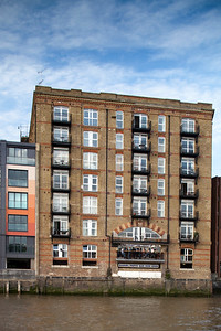 Riverside apartment building where The Samuel Pepys bar is located, the City district, London, England, United Kingdom