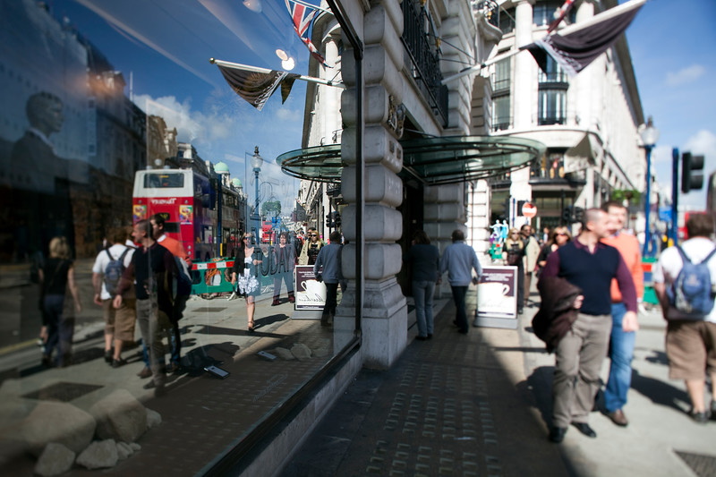 Reflections on a shop window, Regent Street, Westminster, London, England, United Kingdom