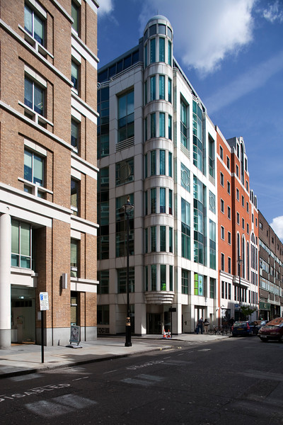 Modern buildings on Great Marlborough Street, Soho, London, England, United Kingdom