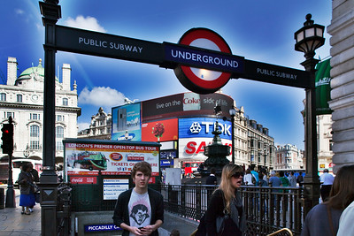 Subway entrance at Picadilly Circus, Westminster, London, England, United Kingdom