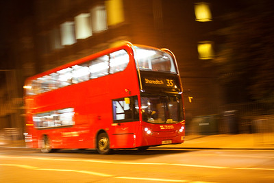 Panning shot of a double decker bus, London, England, United Kingdom