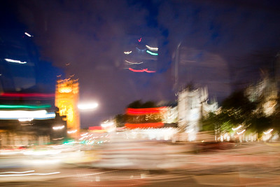 The Houses of Parliament and Westminster Abbey, London, England, United Kingdom. Intentional motion blur.