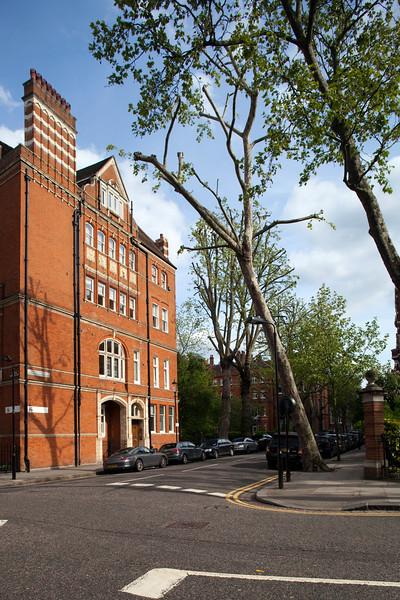 Red brick Vicorian building on Cadogan Gardens, Kensington, London, England, United Kingdom
