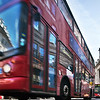Typical double decker red buses, Regent Street, Westminster, London, England, United Kingdom