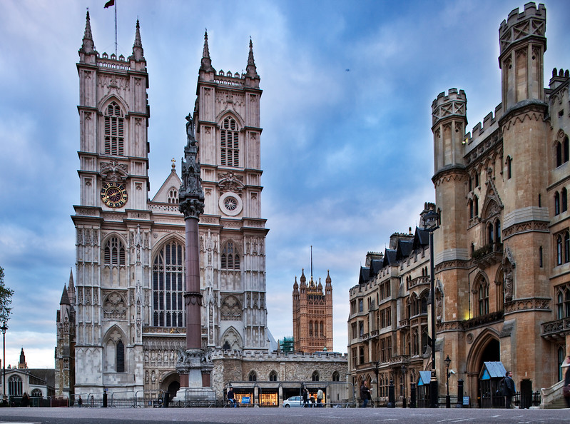 Westminster Abbey (left) and Broad Sanctuary building (right), Westminster, London, England, United Kingdom
