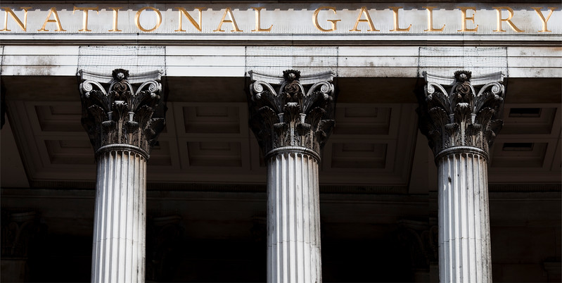 Columns of the National Gallery facade, London, England, United Kingdom