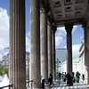 Columns at National Gallery entrance on Trafalgar Square, London, England, United Kingdom