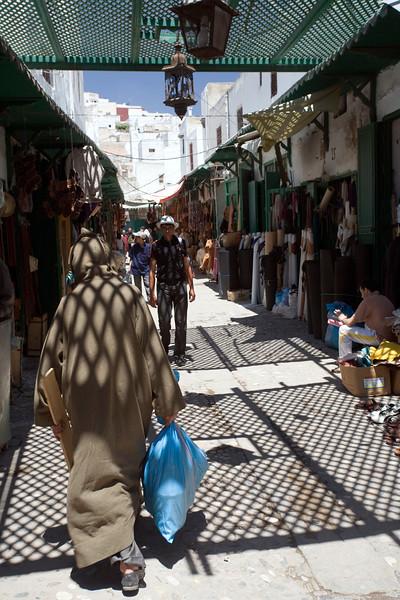 Shaded souk with a lattice canopy, Tetouan medina, Morocco