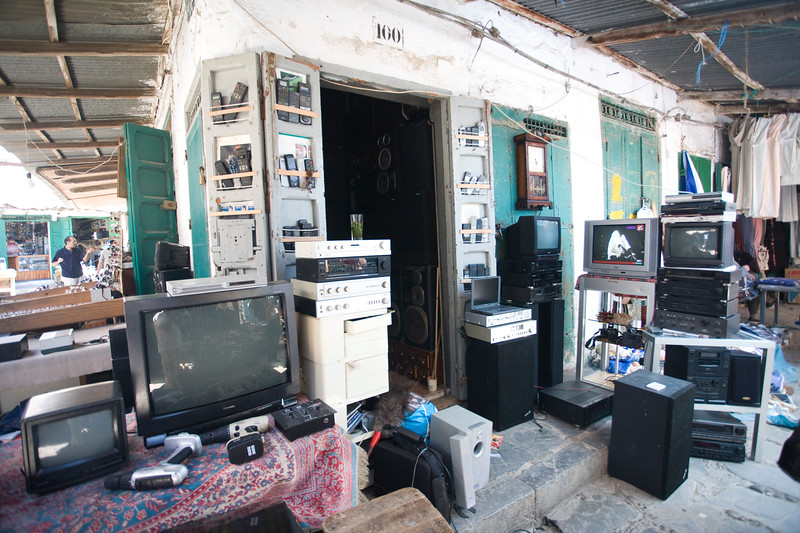 TV and audio devices for sale in the souk, Tetouan, Morocco