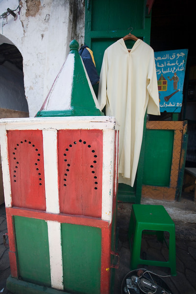 Bridal wooden box used in traditional Moroccan weddings to carry the bride inside, displayed for rent. Tetouan souk, Morocco