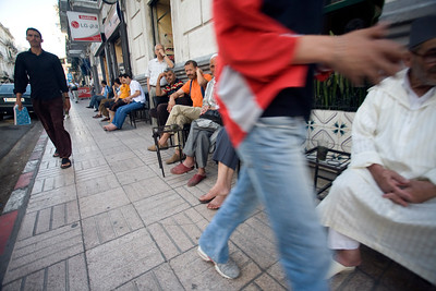 Men sitting on a cafe terrace, Tetouan, Morocco