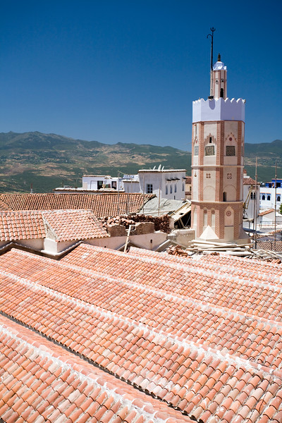 Roof and minaret of the Great Mosque, Uta el-Hammam square, Chefchaouen, Morocco
