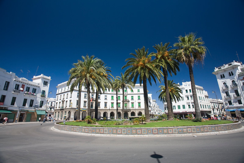 View of Hassan II square, formerly Spain Square, in the Spanish quarter of Tetouan, Morocco.