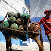 Gas delivery in the medina or old town, Chefchaouen, northern Morocco, Africa