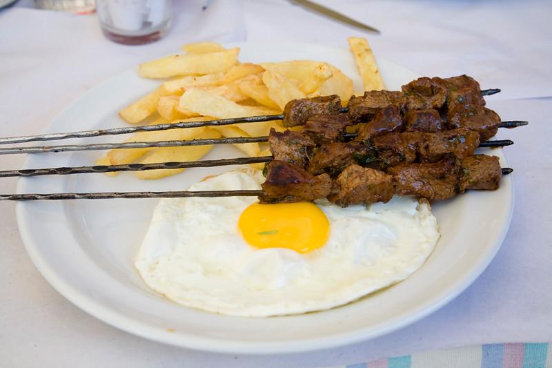 Kebab with egg and potatos, Morocco