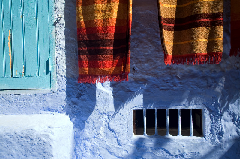 Traditional carpets for sale, town of Chefchaouen, northern Morocco, Africa