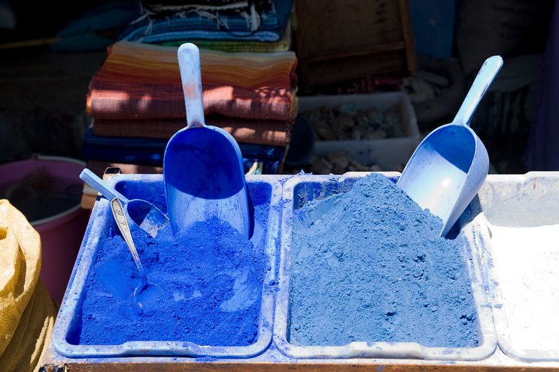Indigo dyes for sale, Chefchaouen, Morocco
