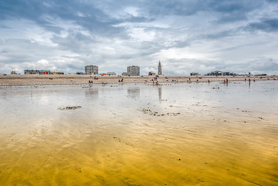 Le Havre skyline from the beach, Normandy, France