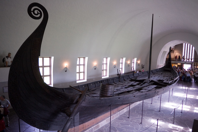 Viking ship shown in The Viking Ship Museum, Bygdoy, Oslo.