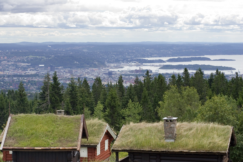 Traditional Scandinavian architecture with grass roofs over wooden structure. The Oslo fjord on the background