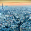 Cityscape of Paris from the Montparnasse Tower, with the Eiffel Tower (left) and Les Invalides church (right), France
