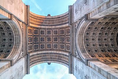 Arc de Triomphe de l'Étoile, low angle view, Paris, France.