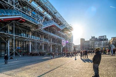 People queueing to visit the Pompidou Center, Paris, France